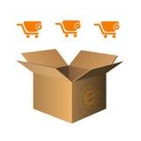 Iconos del carro de compras anaranjados Fotos de archivo libres de regalías