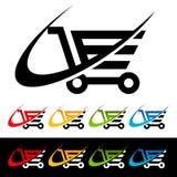 Iconos del carro de la compra de Swoosh Fotografía de archivo libre de regalías