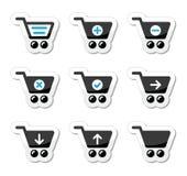 Iconos del carro de la compra fijados Fotos de archivo