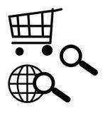 Iconos del carro y de la búsqueda de compras Foto de archivo libre de regalías