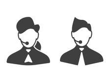 Iconos del centro de atención telefónica stock de ilustración
