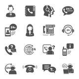 Iconos del centro de atención telefónica del contacto de la ayuda fijados Fotos de archivo libres de regalías