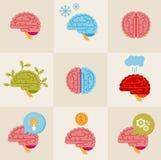 Iconos del cerebro Imagenes de archivo
