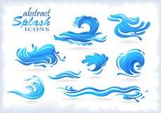 Iconos del chapoteo y modelos de onda abstractos libre illustration