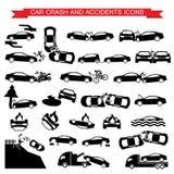 Iconos del choque de coche y de los accidentes Foto de archivo