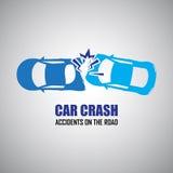 Iconos del choque de coche y de los accidentes Fotografía de archivo