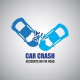 Iconos del choque de coche y de los accidentes Imagen de archivo