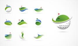 Iconos del club de golf, símbolos, elementos y colección del logotipo stock de ilustración