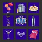 Iconos del club de la barra y de noche Fotos de archivo