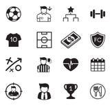 Iconos del club del fútbol y del fútbol fijados Imagen de archivo libre de regalías