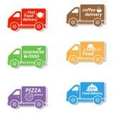 Iconos del coche de entrega de los alimentos de preparación rápida Fotos de archivo libres de regalías