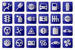 Iconos del coche del vector fijados Azul y blanco stock de ilustración