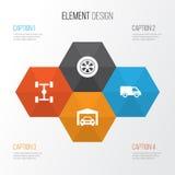 Iconos del coche fijados Colección de camión, de distancia entre ejes, de rueda y de otros elementos También incluye símbolos tal Imágenes de archivo libres de regalías