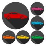 Iconos del coche fijados con la sombra larga Imágenes de archivo libres de regalías