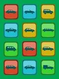 Iconos del coche fijados en un botón coloreado Foto de archivo libre de regalías