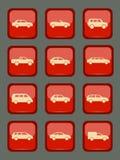 Iconos del coche fijados en un botón rojo Fotos de archivo libres de regalías