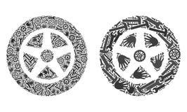Iconos del coche Wheel1 del collage de las herramientas del servicio libre illustration