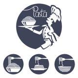Iconos del cocinero con el plato de las pastas Imagen de archivo libre de regalías