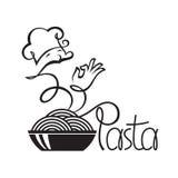 Iconos del cocinero con el plato de las pastas Fotos de archivo libres de regalías