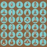 Iconos del cohete de Brown Imagenes de archivo