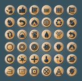 Iconos del colchón y de la almohada ilustración del vector