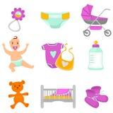 Iconos del color del bebé y de la maternidad fijados Fotos de archivo