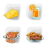 Iconos del color, comida Imagen de archivo libre de regalías