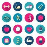 Iconos del color de la aptitud Fotografía de archivo libre de regalías