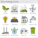 Iconos del color de la energía de Eco fijados Imagenes de archivo
