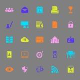 Iconos del color de la gestión de negocio en fondo gris Imagenes de archivo