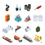 Iconos del color de la industria de petróleo y de los recursos energéticos fijados Vector Imagen de archivo