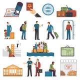Iconos del color de la inmigración fijados ilustración del vector