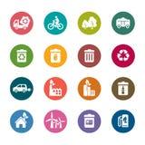 Iconos del color de la protección del medio ambiente Fotos de archivo libres de regalías