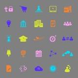Iconos del color de las relaciones de negocios en fondo gris Imagen de archivo libre de regalías
