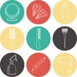 Iconos del color de los accesorios del pelo y de las herramientas del peluquero Fotografía de archivo