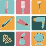 Iconos del color de los accesorios del pelo y de las herramientas del peluquero Fotos de archivo