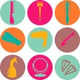 Iconos del color de los accesorios del pelo y de las herramientas del peluquero Imágenes de archivo libres de regalías