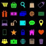 Iconos del color del comercio electrónico en fondo negro Fotos de archivo libres de regalías