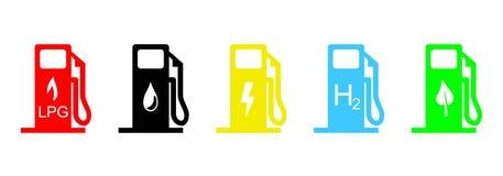 Iconos del combustible stock de ilustración