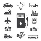 Iconos del combustible, del poder y de la energía fijados Imagen de archivo