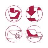 Iconos del comercio electrónico de las compras fijados ilustración del vector
