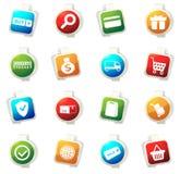 Iconos del comercio electrónico fijados Fotografía de archivo libre de regalías