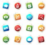 Iconos del comercio electrónico fijados Foto de archivo