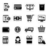 Iconos del comercio electrónico fijados negros Foto de archivo libre de regalías