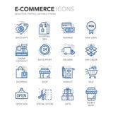 Iconos del comercio electrónico de Blue Line Fotografía de archivo