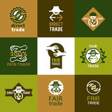Iconos del comercio justo fijados y muestras Foto de archivo