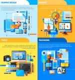 Iconos del concepto de diseño gráfico fijados Foto de archivo