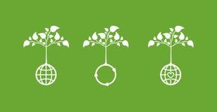 Iconos del concepto de la ecología Imagen de archivo