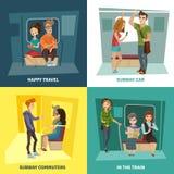 Iconos del concepto de la gente del subterráneo fijados ilustración del vector