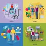 Iconos del concepto de la vida de los pensionistas fijados Imagen de archivo libre de regalías